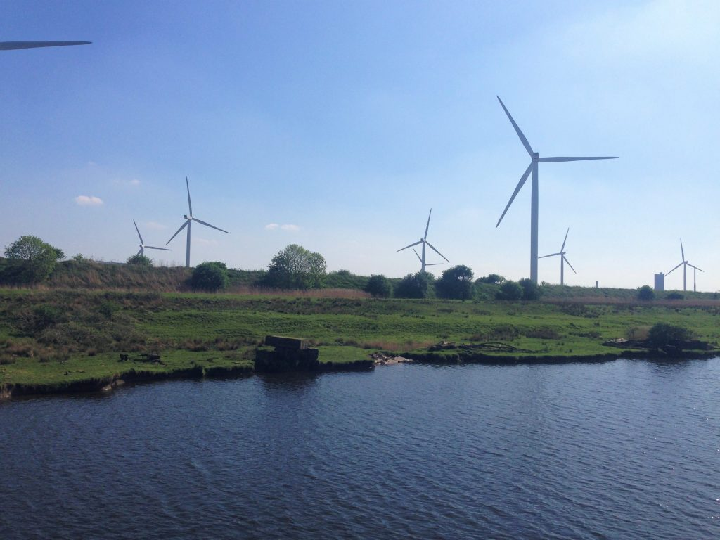 Fountain of Travel How to Cruise Down Manchester Ship Canal Wind Turbines