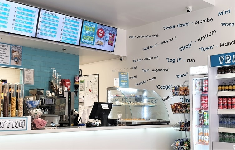 Fountain of Travel Manchester Frankies Toasties Counter